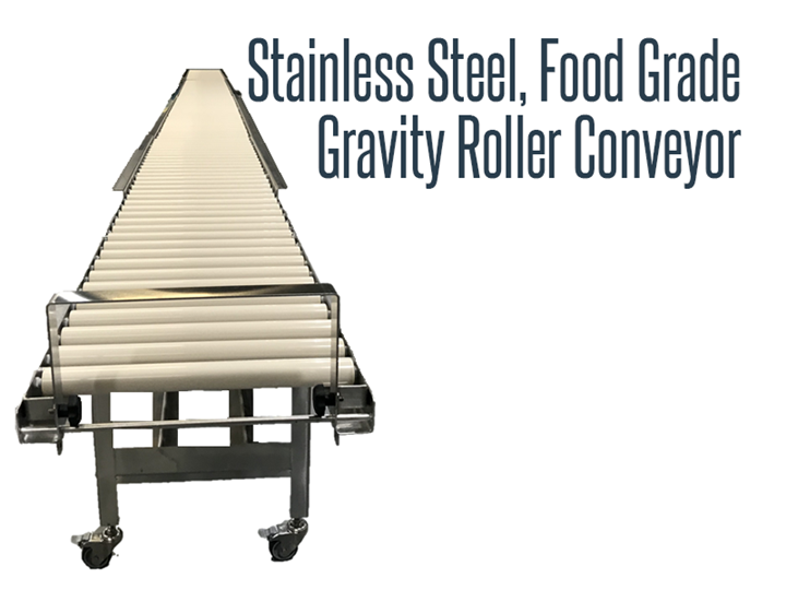 Stainless steel, food grade, and wash down safe gravity roller conveyor with plastic rollers.