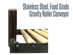 Close Up View of Stainless Steel, Food Grade Gravity Roller Conveyor
