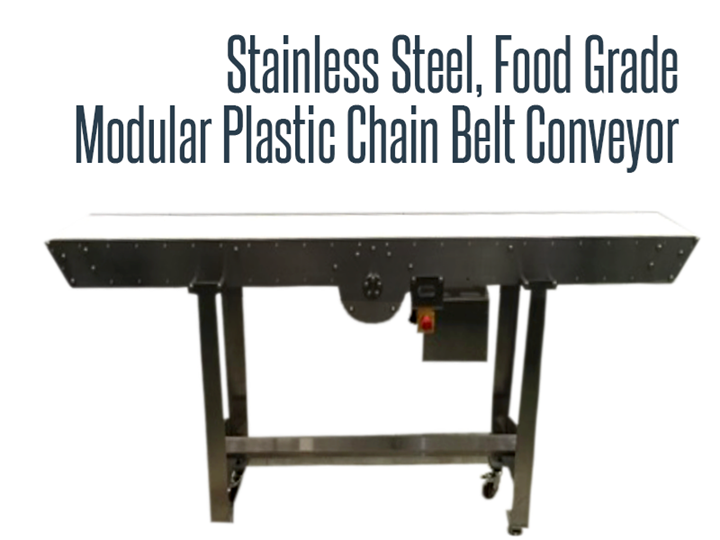 Stainless steel, food grade, and wash down safe modular plastic chain belt conveyor.
