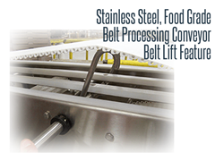 Close Up of Belt Lift Feature on Stainless Steel, Food Grade, Belt Processing Conveyor