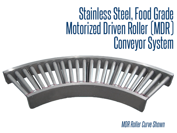 A stainless steel, food grade MDR conveyor system allows the processing of raw ingredients through packaged, ready to eat product.