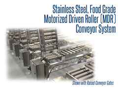View of a stainless steel MDR conveyor system with conveyor gates in upright position
