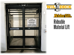 Riderlift™ RML Rideable Material Lift, Front Cage Closed and Ready for Ascent to Upper Level