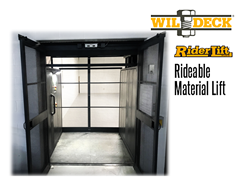 Riderlift™ RML Rideable Material Lift, Exterior View with Open Cage