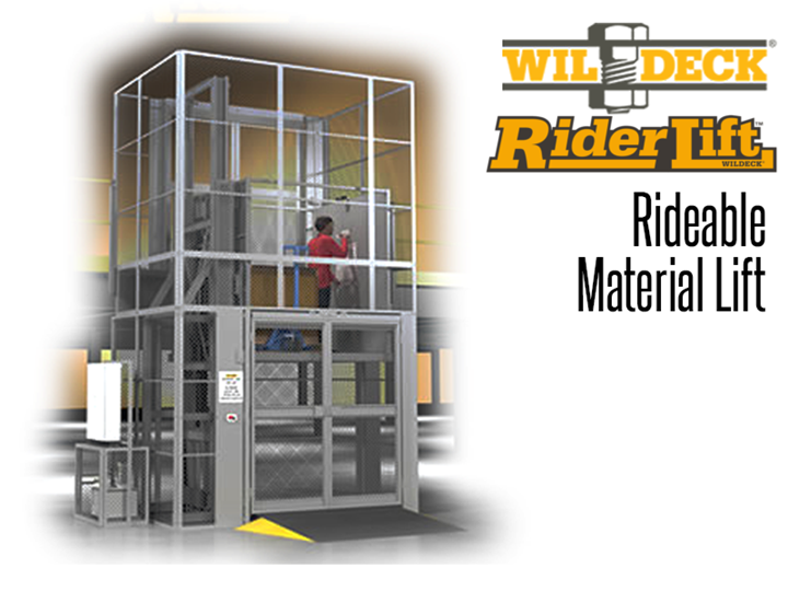 The Riderlift™ RML Rideable Material Lift allows authorized personnel to safely travel between levels with their material at a fraction of the cost of an elevator installation