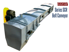 The shape of the Rapat SCR frame forms the belt into a trough, and the bulk product rides smoothly on top of the belt.