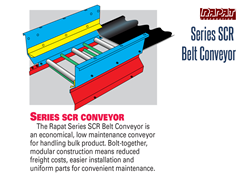 The Series SCR conveyor has modular components, eliminating the need for custom conveyors