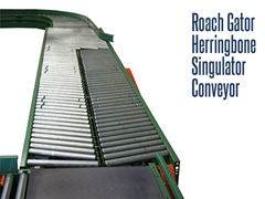 The Gator Singulator Conveyor randomly receives product and discharges them in a single file for labeling or metal detection.