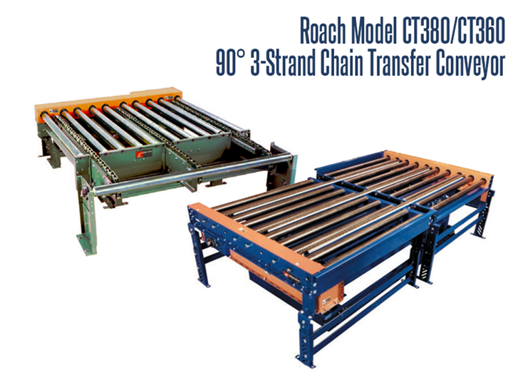 The Roach Model CT380/CT360 Chain Strand 3-Strand 90° Conveyor provides a method for the pallet to change directions at a right angle