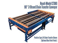 The Roach Model CT360 Chain Strand 3-Strand 90° Conveyor has a positive type lift chain transfer.