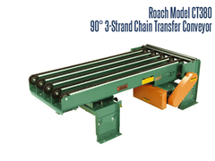 The Roach Model CT380/CT360 Chain Strand 3-Strand 90° Conveyor can convey heavy duty unitized loads up to 3000 lbs at large 90° intervals.