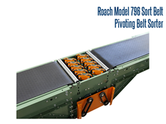 The Model 796 Sort Belt, Pivoting Belt Sorter can sort up to 75 sorts per minute with belt speeds as high as 300 fpm.