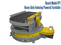 This Roach heavy duty indexing turntable includes model 297CDLR conveyor with heavy duty blade stops at each end. Product is conveyed to perpendicular conveyor lines eliminating wasted floor space resulting when large-radius tapered roller CDLR curves are used.