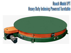 Roach Heavy Duty Indexing Turntable;  a heavy duty chain driven live roller may be mounted on the turntable platform and rotated to orient product at specified intervals allowing operator to perform a variety of tasks, such as blasting, rinsing, cleaning and blow-off.