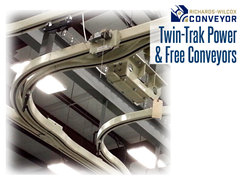 Twin-Trak Conveyors combine power and free capability with a side-by-side track configuration.