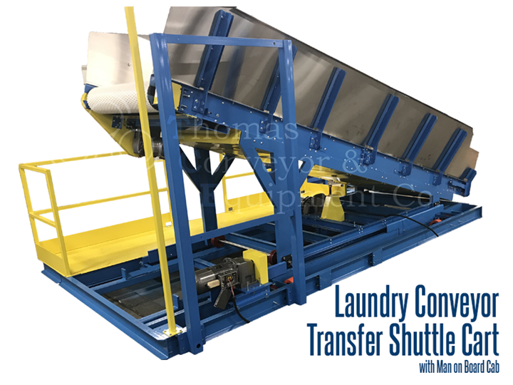 Laundry conveyor with man on board cab used to transfer laundry from washer to dryer or from folding to ironing