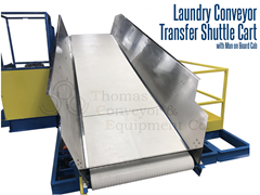 Laundry transfer conveyor used to move laundry from washer to dryer