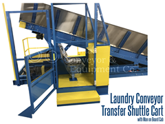 Laundry shuttle cart with man on board operating cab used for safely transferring laundry from washer to dryer