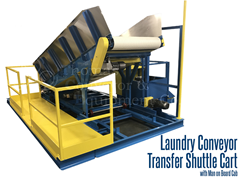 Laundry transfer conveyor with operator platform used in industrial laundry application to move laundry from washing to drying
