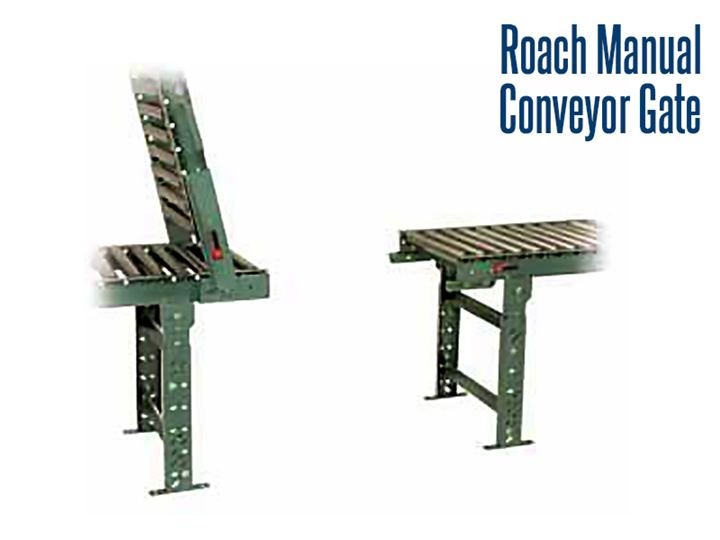 Roach Manual Conveyor Gates are conveyor sections that can retract or pivot vertically to gain passage for personnel, equipment, carts, forklift trucks, & walkways on a production line.