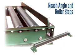 Angle & Roller Product Stops are designed to stop or reroute your conveying equipment's path and are used to improve usability and customize your conveying setup.  Both Angle & Roller Stops serve as an economical means to stop goods at a given fixed point.