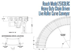Roach Model 251CDLRC Heavy Duty Chain Driven Live Roller Curve Conveyor Top View Schematic