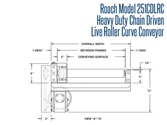 Roach Model 251CDLRC Heavy Duty Chain Driven Live Roller Curve Conveyor Side View Schematic