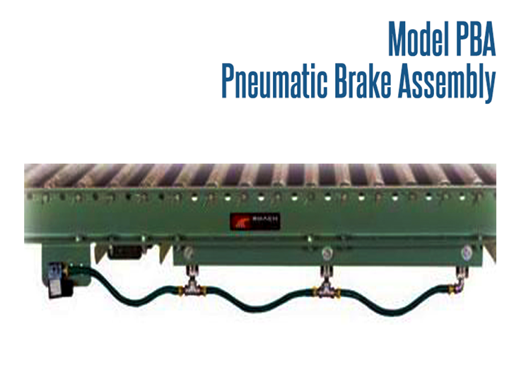 A Pneumatic Brake Assembly is mounted within the conveyor frame under the conveyor rollers. When actuated the brake presses against the rollers and will not allow the rollers to turn