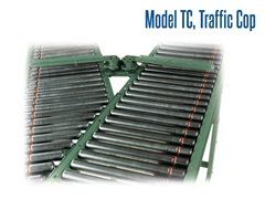 Traffic Cops efficiently controls smooth product flow from one conveyor onto another. It allows products from one line of traffic to flow freely, without interference from another intersecting line of traffic