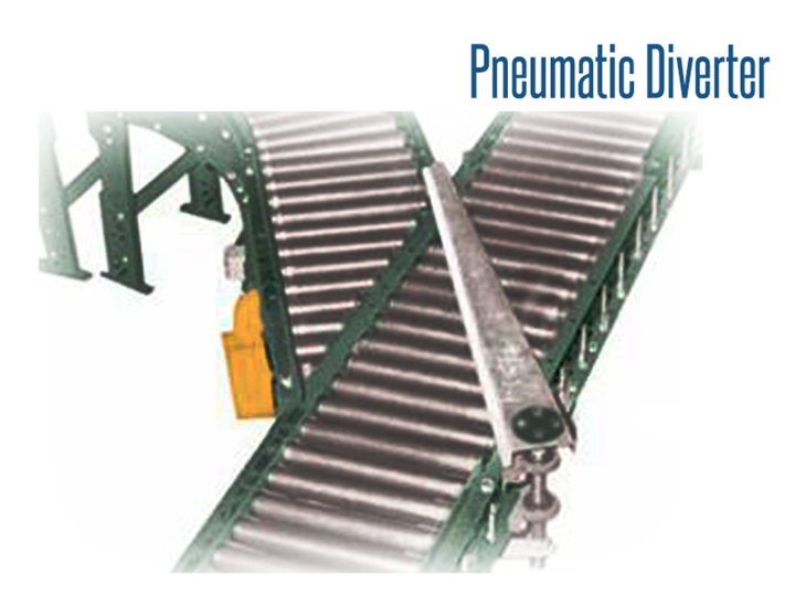 Roach Pneumatic Diverters are used to divide the flow of product or cartons into a predetermined lane or flow. They merge multiple conveyor lanes to a single lane for labeling, weighing, or other operation