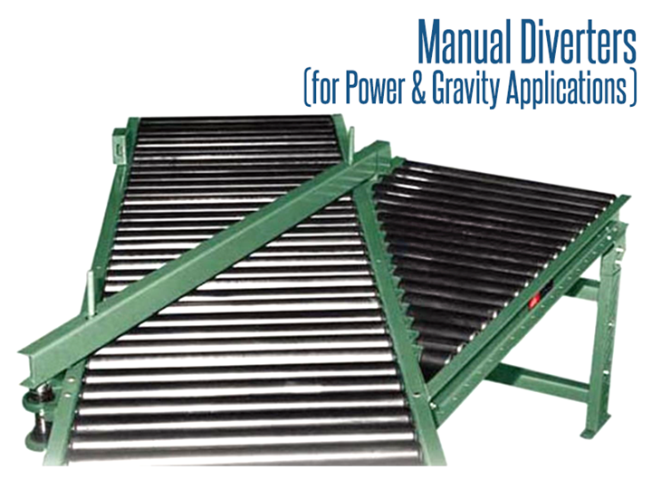 Roach Manual Diverters for Power And Gravity Applications are designed for total product handling and line control during start up for smooth operation. Manual diverters are used to divert packages off of a main conveying line onto other conveyors
