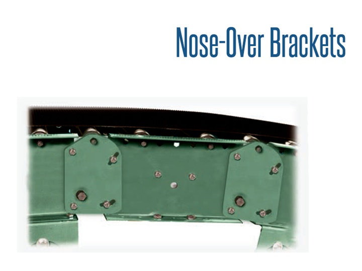 Nose-Over Brackets are used to smoothly bridge the transition of inclined or decline bed section to a horizontal bed section. These brackets may be attached to slider bed or roller bed belt conveyor