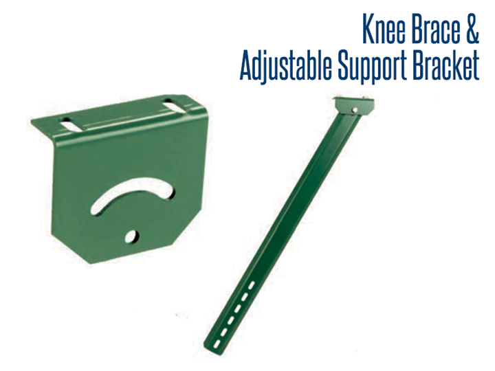 Knee Braces and Adjustable Support Brackets add strength and stability in portable conveyor applications.
