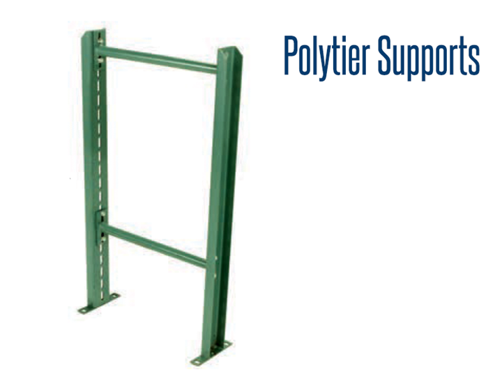 Polytier Supports provide sturdy support for multi-level conveyor lines.