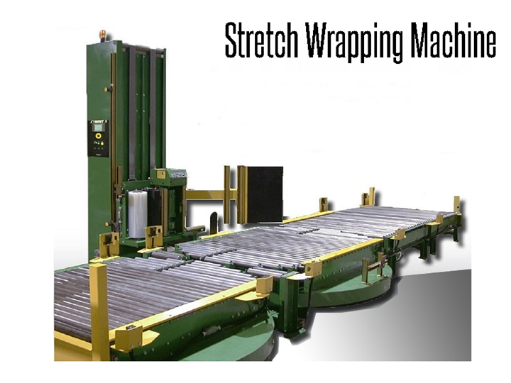 Stretch wrapping machine for efficient use of stretch film and safe product transportation.