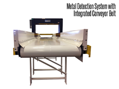 Belt conveyors are used with a custom metal detection system to find stainless steel and ferrous metals such as cast iron and mild steel, as well as non-ferrous metals like copper, lead, and aluminum