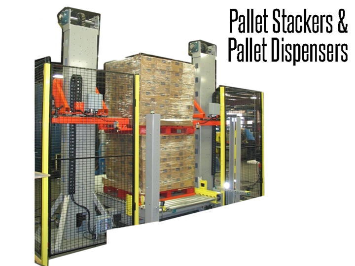 Pallet stackers and pallet dispensers replace manual handling of pallets in automated material handling systems