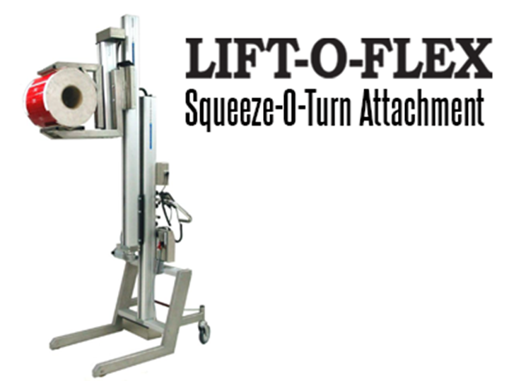 LIFT-O-FLEX™ Series 12120 Ergonomic Lifter with Squeeze-O-Turn™ Attachment assists in providing load handling for lifting and rotating rolls, barrels, drums, buckets and boxes.