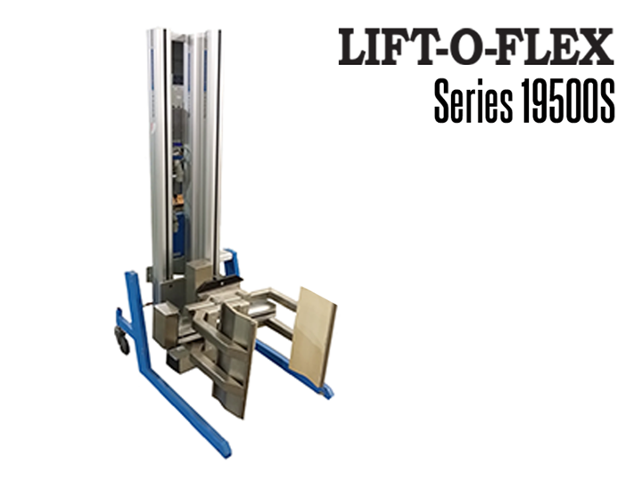 RonI's LIFT-O-FLEX™ 19500S (Auxiliary Non-Powered Mast) Series ergonomic lifter offers dynamic load handling characteristics for heavy load capacities.
