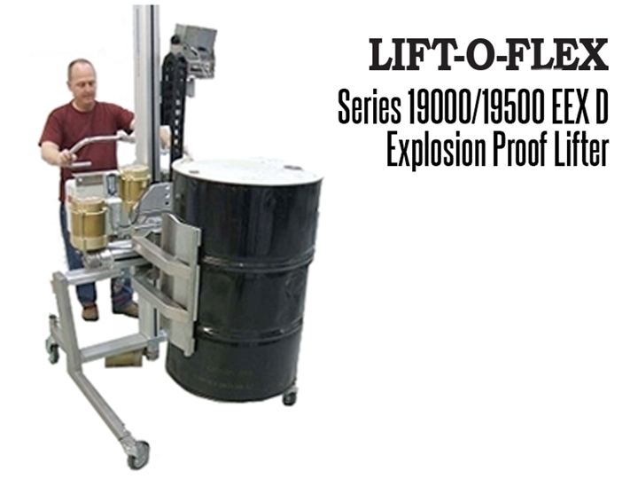 The LIFT-O-FLEX™ EEX D explosion proof lifter offers users the flexibility to meet the demands of explosion proof material handling combined with the ease of an ergonomic lifter.