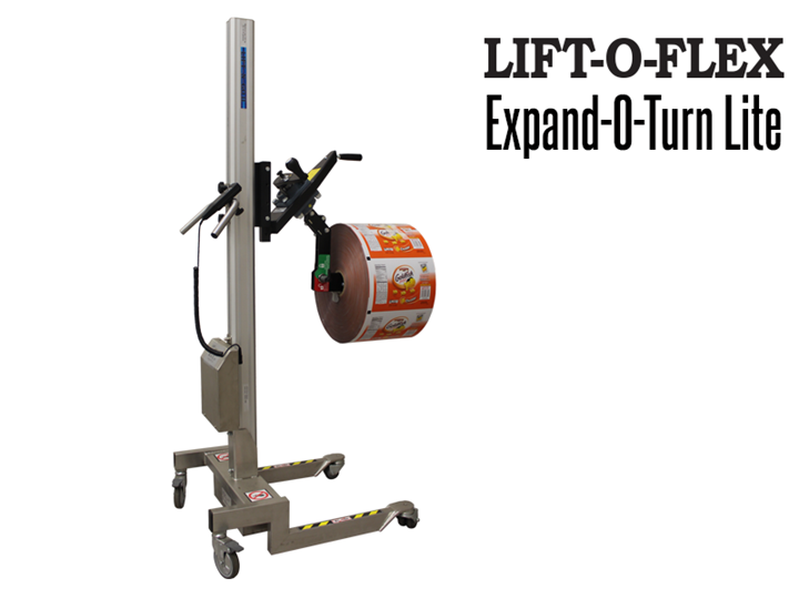 RonI's Lift-N-Go™ Lite with Expand-O-Turn™ tooling is designed as a perfect ergonomic solution for handling smaller rolls and reels.
