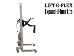 When operating this affordable lift, the roll is gripped by the core with an expander block locking the roll or reel into the axle by the weight of the roll.