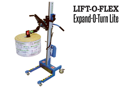 The LIFT-O-FLEX Expand-O-Turn Lite's Lifting motion is achieved with the handheld pendant remote control attached to the lifter.