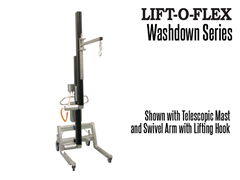 The LIFT-O-FLEX™ wash down series is an easy to operate, adjustable ergonomic lifter that is designed to withstand water for easy cleaning.