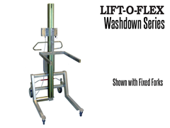 The LIFT-O-FLEX™ wash down series can lift and turn, move, pour, position and load your coil, spool, drum, barrel, bags, box or tote.