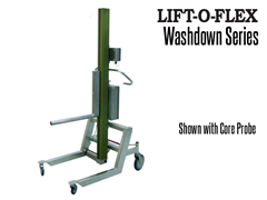 Washdown lifter along with end-effectors is completely power or hose wash down capable without the use of covers on components to limit water seepage to critical components.