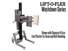 LIFT-O-FLEX Stainless Steel Washdown Series ergonomic lifter shown with Squeeze-O-Turn drum and rolling handling end effector.