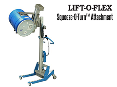 The LIFT-O-FLEX™ Squeeze-O-Turn™ is a lifting device to support drum handling or items that require external handling/clamping for rotation or movements.
