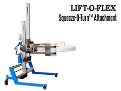 "Squeeze-O-Turn™'s unique modular drum handling has a maximum lifting capacity of 300 lbs.* and a standard stroke of 12""."