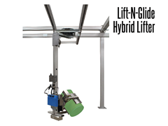 The Lift-N-Glide™ lift is suspended from a bridge crane system.